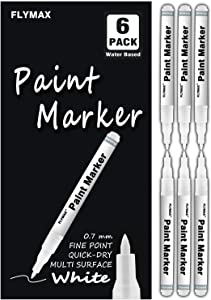 White Paint Pen, 6 Pack 0.7mm Acrylic White Permanent Marker White Paint Pens for Wood Rock Plastic Leather Glass Stone Metal Canvas Ceramic Marker Extra Very Fine Point Opaque Ink