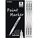 White Paint Pen, 6 Pack 0.7mm Acrylic White Permanent Marker White Paint Pens for Wood Rock Plastic Leather Glass Stone…