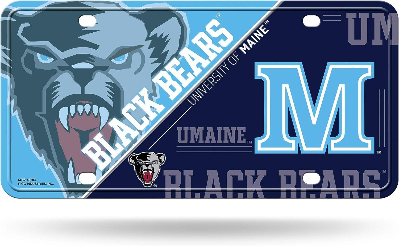 Maine Black Bears Logo Car Tag Diamond Etched on Aluminum License Plate