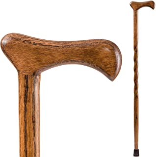 product image for Brazos Walking Cane for Men and Women Handcrafted of Lightweight Wood and made in the USA, Brown Oak, 37 Inches