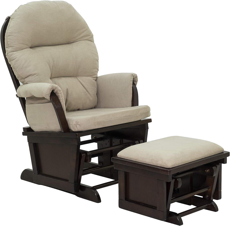 HOMCOM Nursery Glider Rocking Chair with Ottoman Set Cream White
