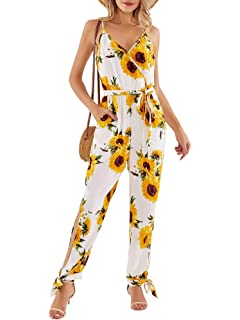 JOSSOIOJ Women Summer Casual Rompers Beach Spaghetti Strap Outfit Short Jumpsuit