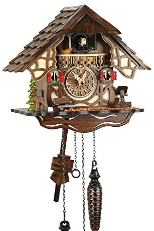 Selva NEGRA uhrenfabrik kammerer reloj de madera con mecanismo de pilas y cuco - oferta de relojes-Park Eble - Engstler - 24 cm Fachwerkhaus - 416 Q: ...