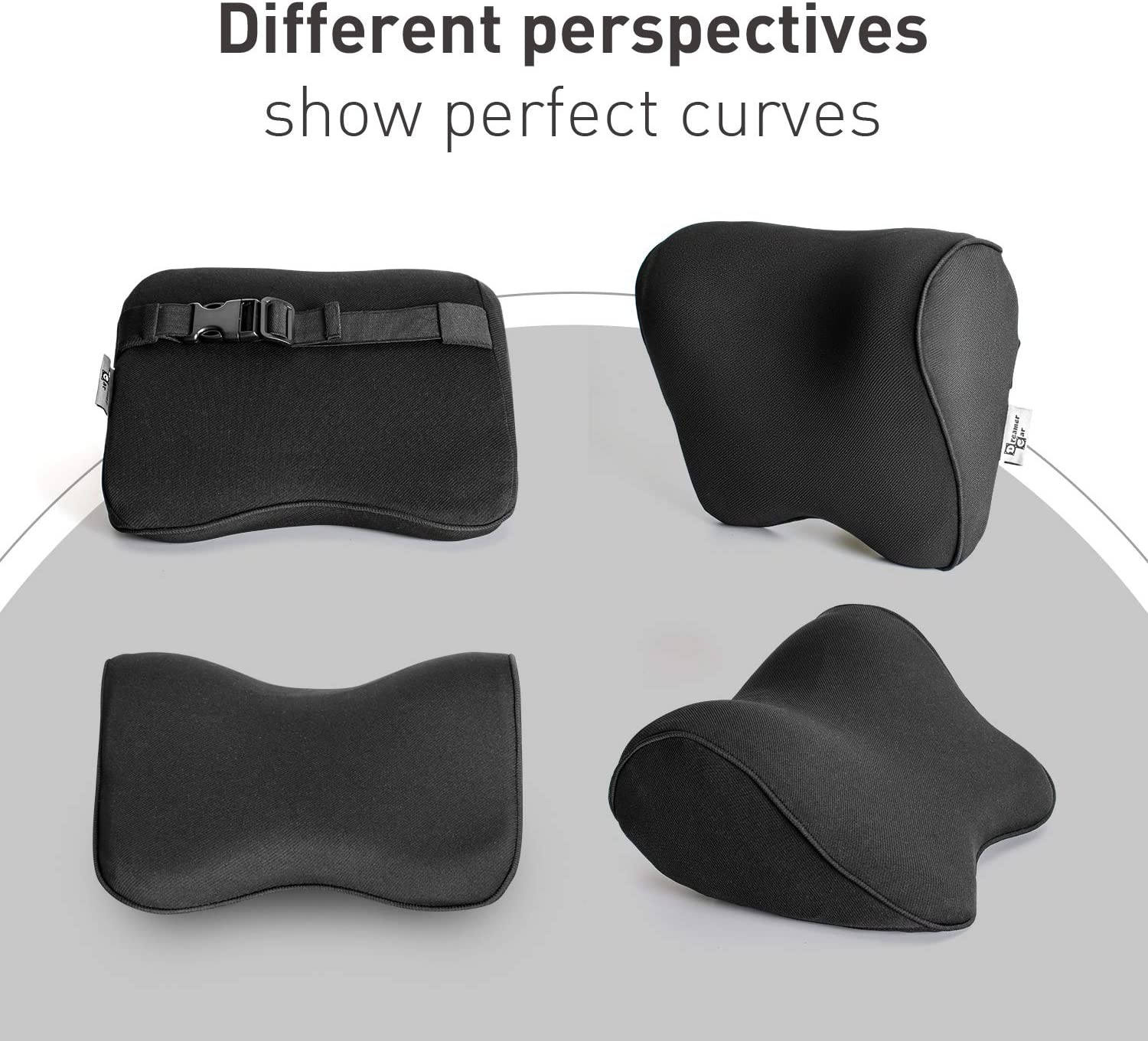 Dreamer Car Pillow for Driving Seat with Adjustable Strap Balanced Softness Memory Foam Neck Pillow Car Seat Designed to Relieve Neck Pain and Muscle Tension,Black