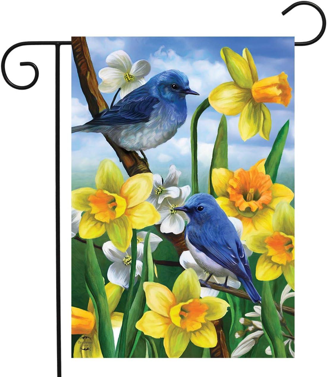 "Briarwood Lane Bluebirds and Daffodils Spring Garden Flag Floral 12.5"" x 18"""