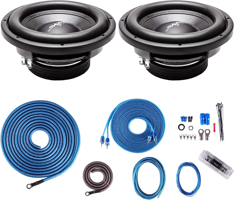 """(2) Skar Audio VD-10 D2 10"""" 500W RMS Dual 2 Ohm Subwoofers + 4 Gauge Complete Amp Kit"""