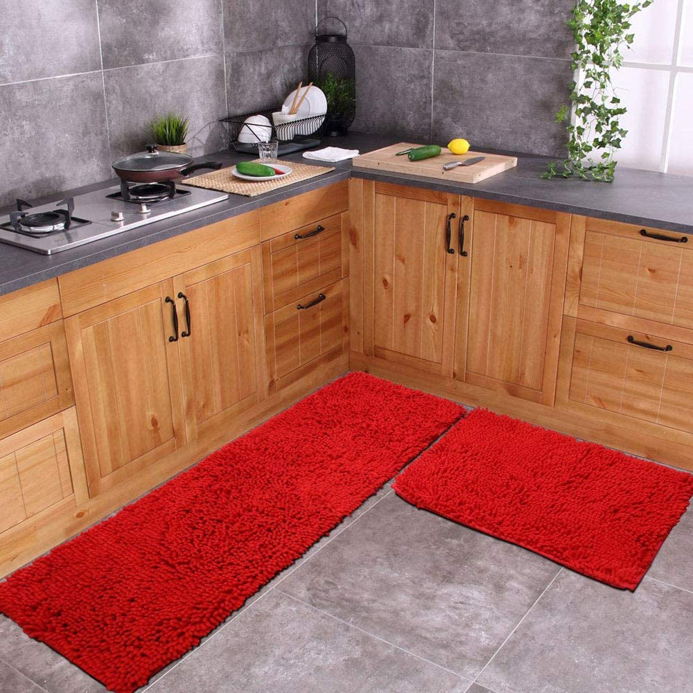 Red Rug for Kitchen Shaggy Chenille Rugs 2 Pieces Set Non Slip Washable  Absorbent Runner Rug Set/Kitchen Rugs and Mats/Floor Mat/Entryway Rug/Bath  Rug ...