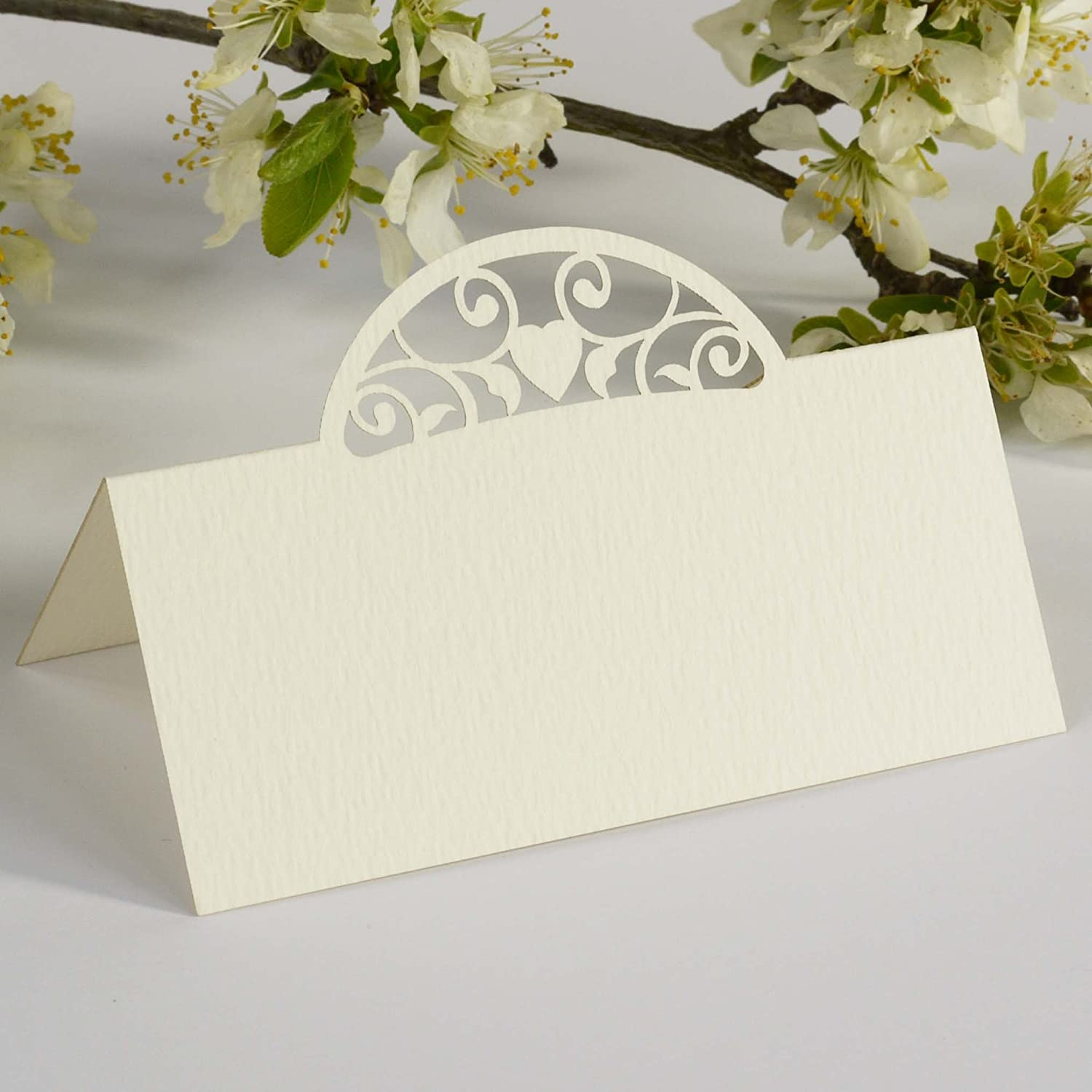 Paper Baker Ivory Domed Vintage Heart Place Cards Wedding Name