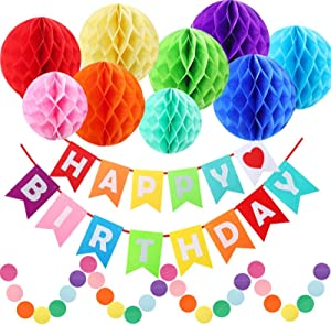 Happy Birthday Decorations, Happy Birthday Banner, Rainbow Birthday Party Decorations with Colorful Honeycomb Pom, Circle Dots Hanging Decorations