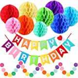 Rainbow Birthday Party Decorations, Colorful Honeycomb Poms, Happy Birthday Banner, Circle Dots Hanging Decorations by…