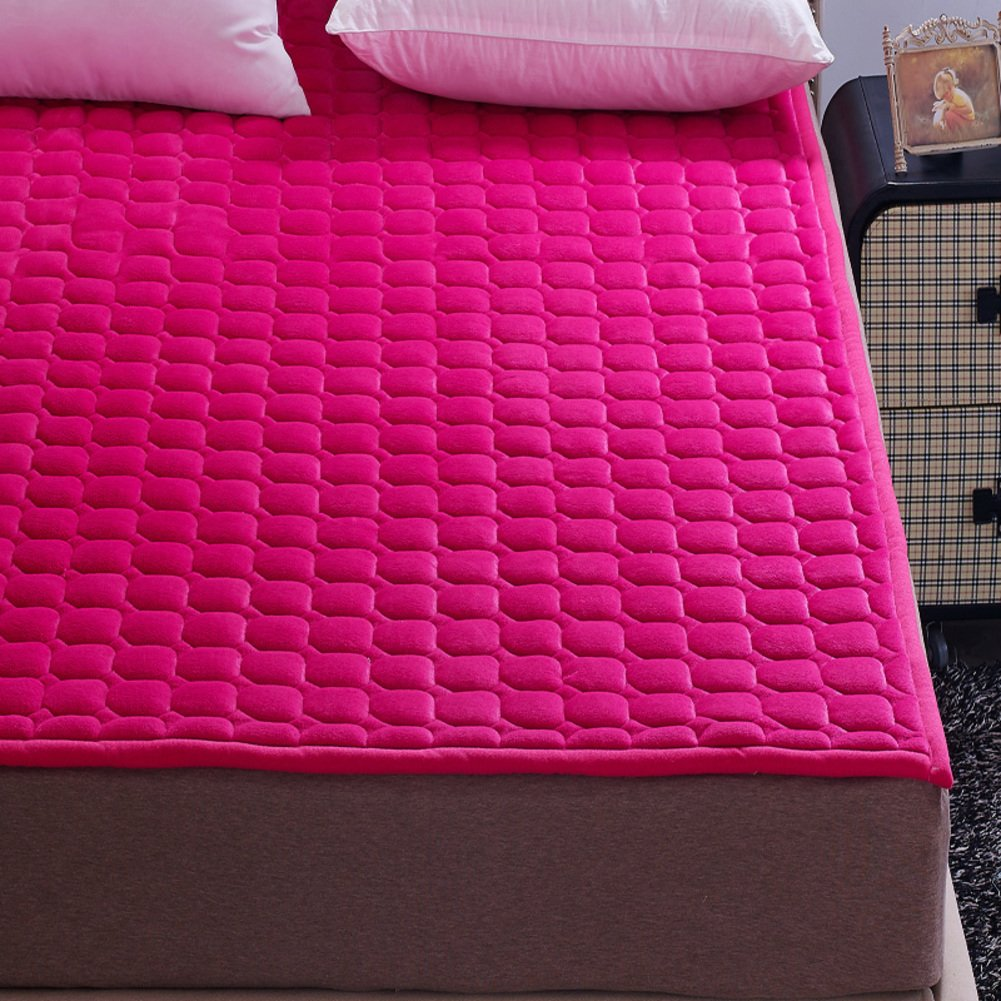 L Queen Flannel Mattress Predector, Breathable Floor Mat Soft Thin Mattress Pad Cover Quilting for Dorm Home-l Queen