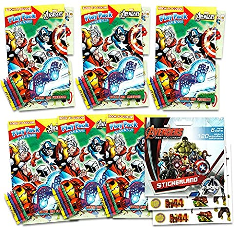 The Avengers Ultimate Party Favors Packs -- 6 Sets with Stickers, Coloring Books and Crayons (Party Supplies)