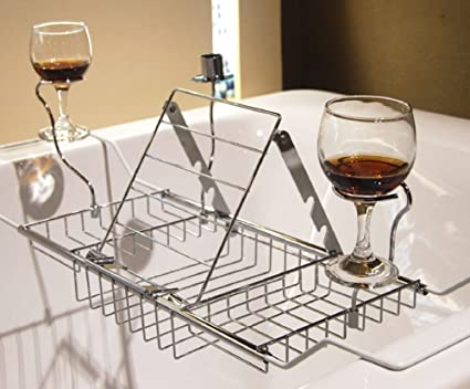 DreaMall Adjustable Stainless Steel Bathtub Rack Tray Shower Caddy With  Reading Rack Candle Wine Holder For