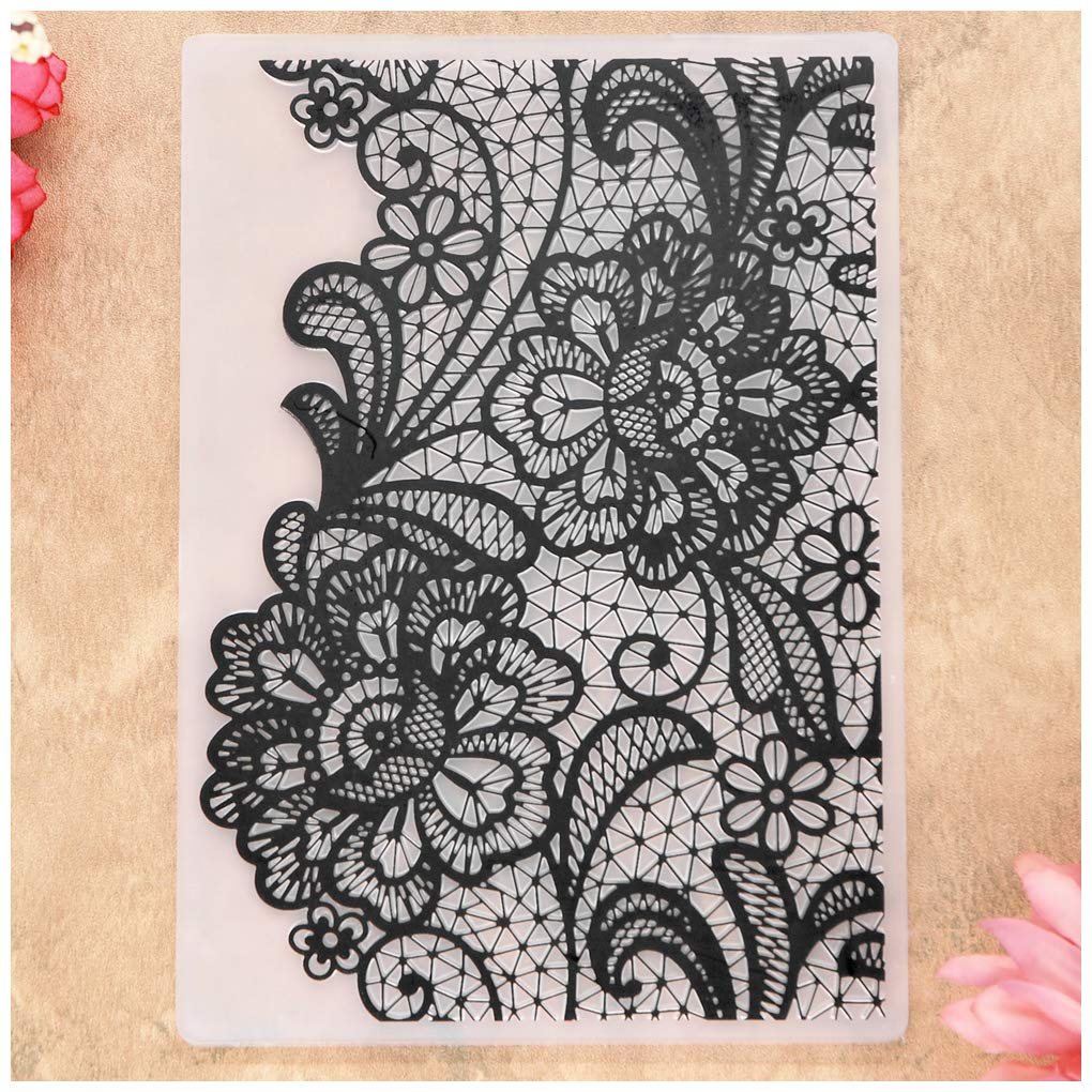 KWELLAM Flowers Lace Plastic Embossing Folders for Card Making Scrapbooking and Other Paper Crafts
