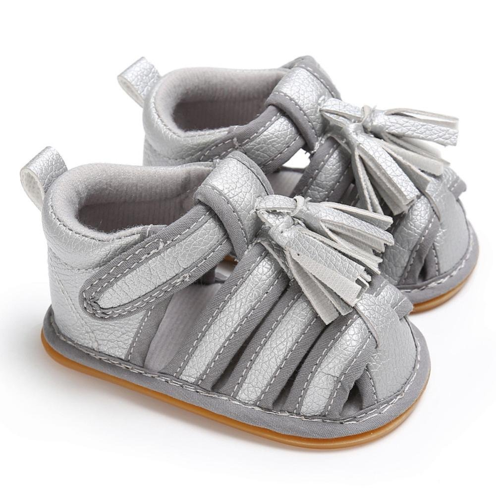 Dacawin Toddler Summer Girl Boy Crib Tassels Leather Shoes Soft Sole