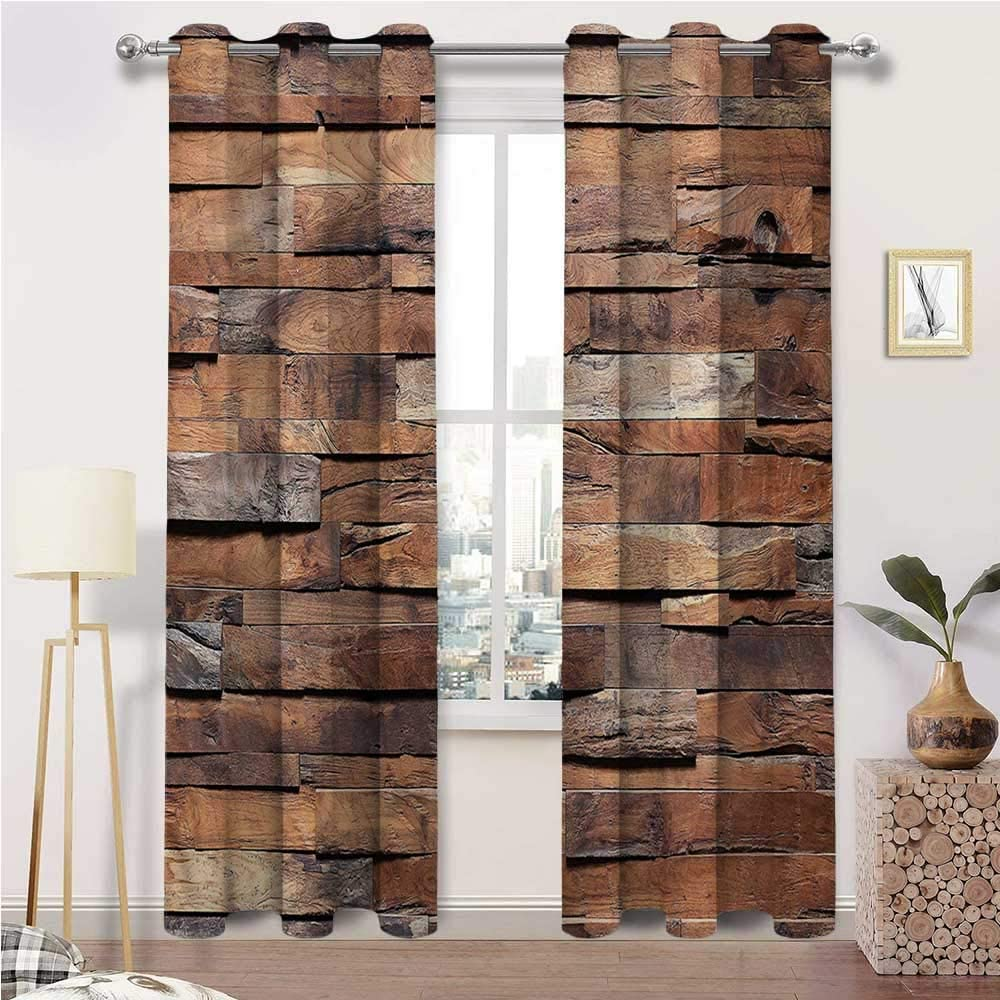 Cafe Curtains, Wooden Thermal Insulated Grommet Window Drapes, Old Ruined Rustic Planks Set of 2 Panels, 120 Width x 84 Length