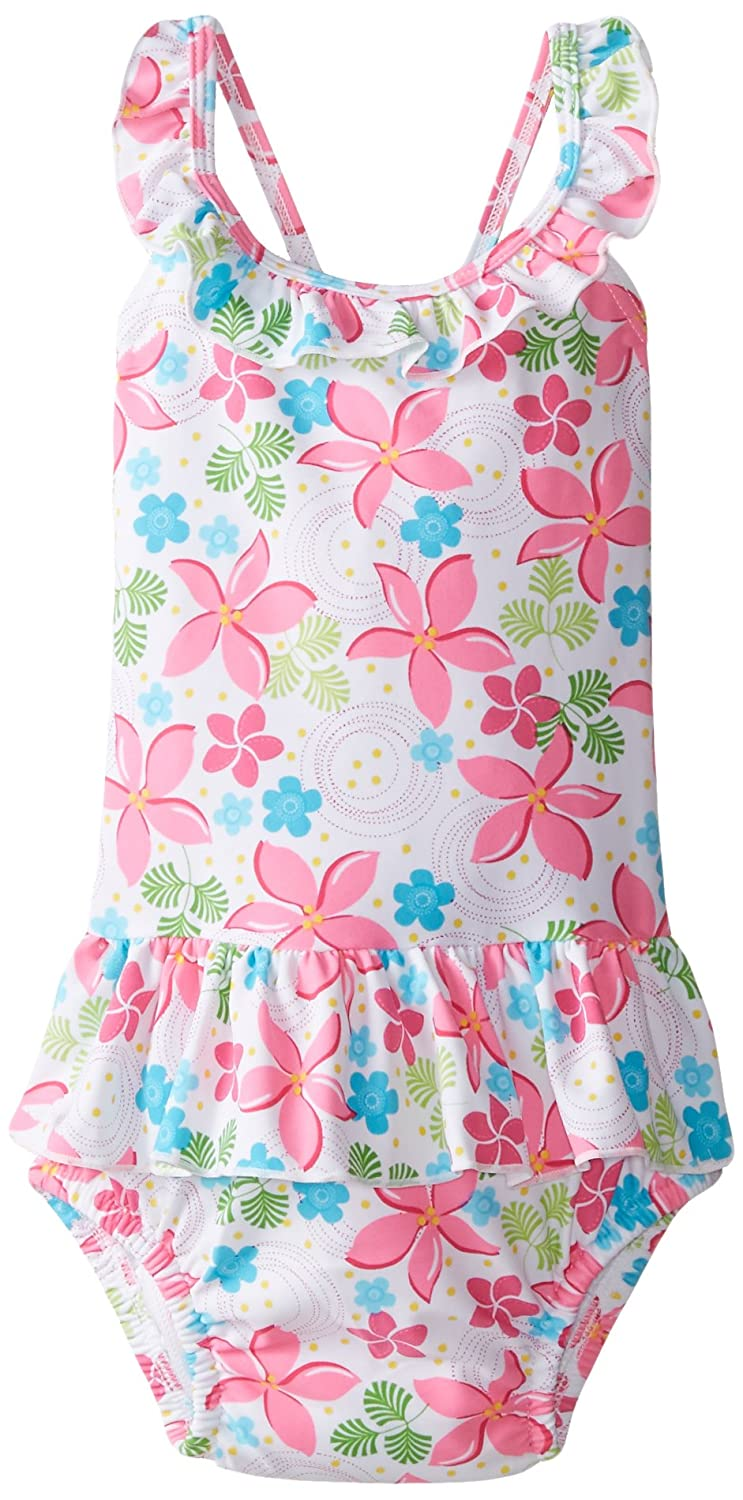 i play Classics Ultimate Swim Nappy Ruffle TankSuit for Girls (3-6 Months, Newborn, White Frangipani) 712150