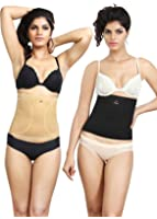 Adorna Anti-Rolling Tummy Tuckers - Combo of Black and Beige Colors Ladies Shapewear