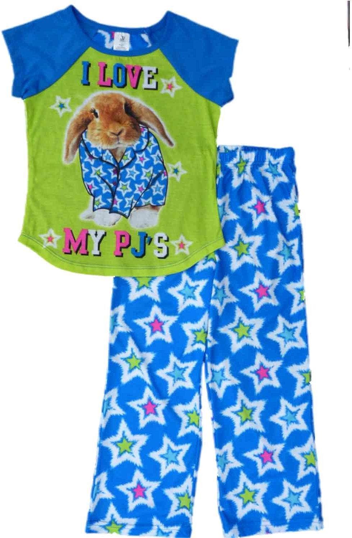 JV Apparel Girls Blue /& Green I Love My PJS Bunny Pajamas Sleep Set Sleepwear