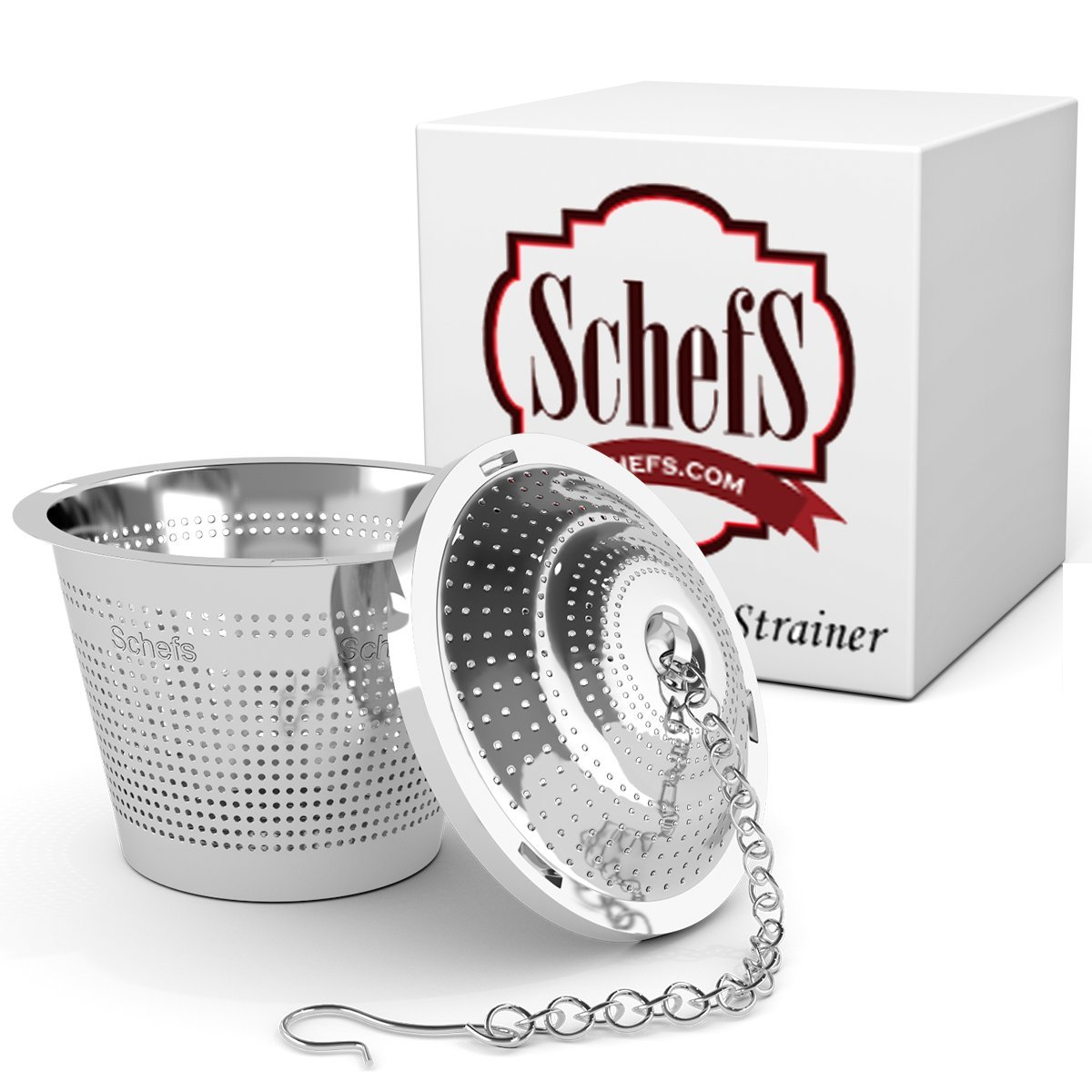 Schefs Multi Cup Premium Tea Infuser - Stainless Steel - Perfect Strainer for Loose Leaf Tea in the Kettle or for a Pitcher of Iced Tea. SCTIFB-2