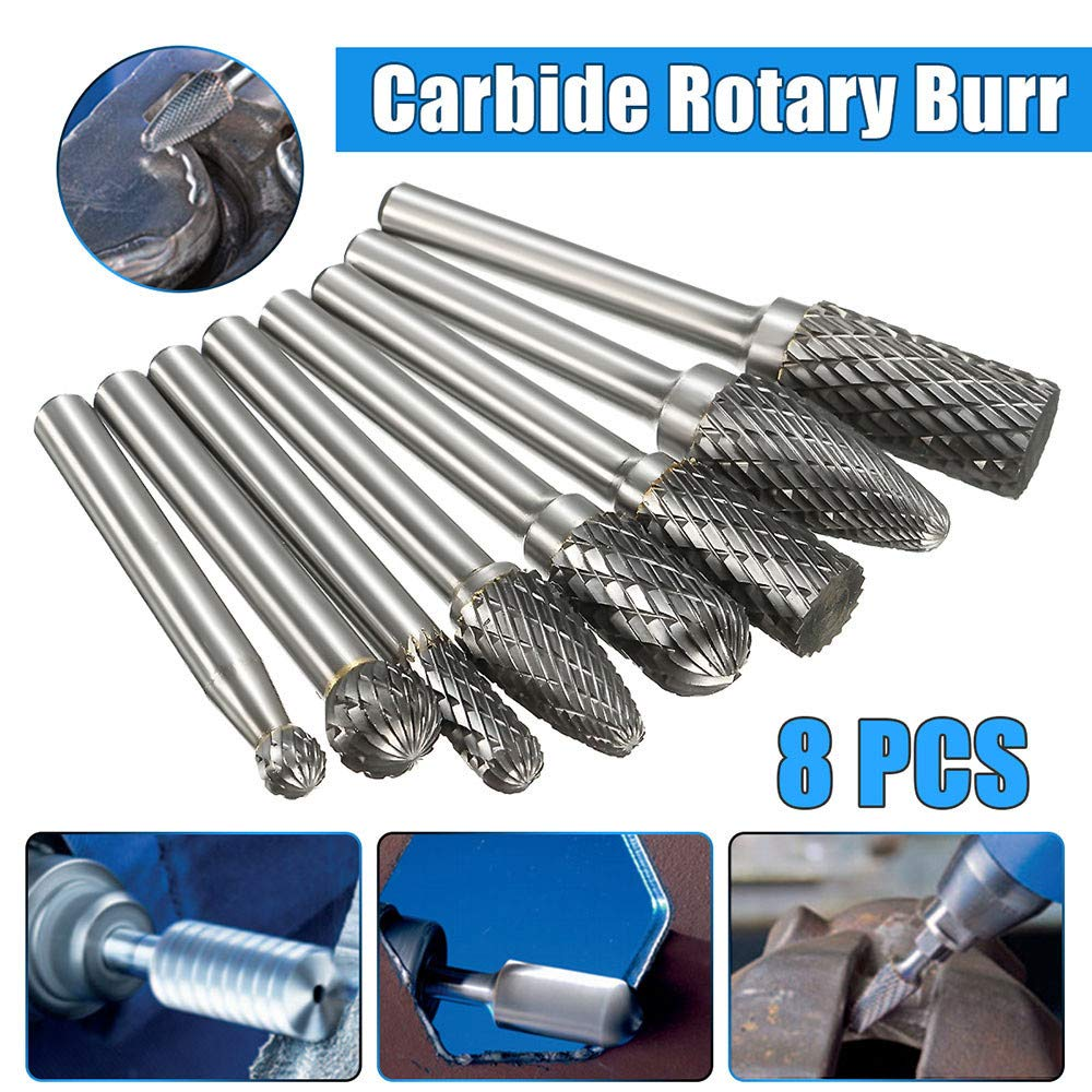 Mosunx Tools 1//4 Tungsten Carbide Rotary Bits Silver, 1//4 Inch 8 Pcs Double Cut Solid Carbide Rotary Burr Set for Die Grinder Drill//Metal Carving//Polishing//Engraving//Drilling