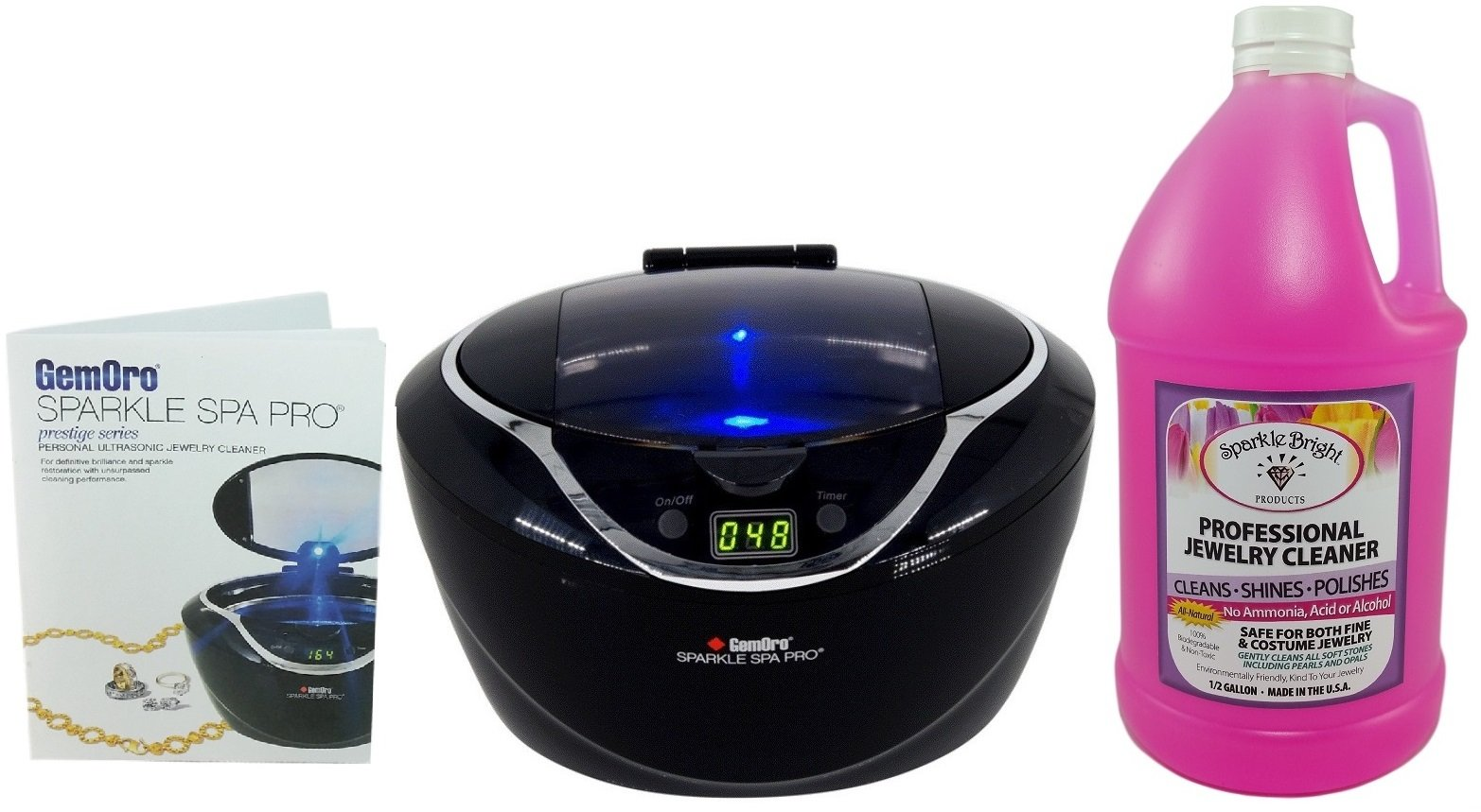 GEMORO 1790 SPARKLE SPA PRO BLACK ULTRASONIC JEWELRY CLEANING KIT Includes Sparkle Bright All-Natural Jewelry Cleaner, Half Gallon Liquid