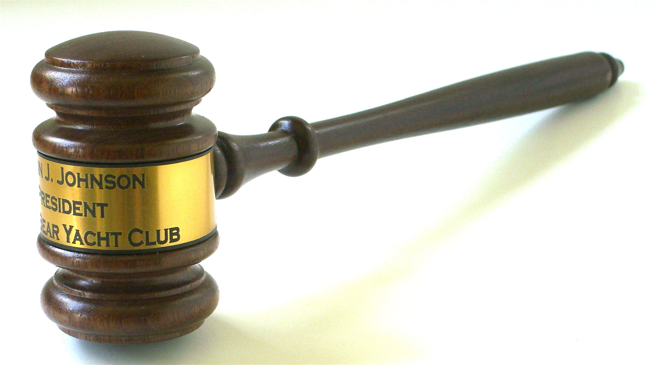 Gavel with engraved band wood