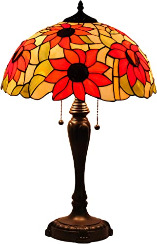 Mural Times Lighting Tiffany Lamp W16H25 Inch Sunflower Handmade Stained Glass Lampshade