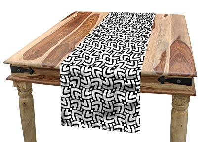 Amazon com: Ambesonne Black and White Table Runner, Grid Style