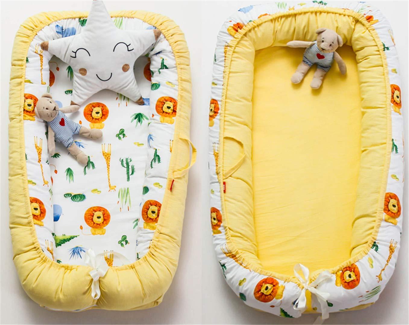 Hayisugar Babynest Nestchen Kuschelnest Matratze im Bett Faltbett Doppelseitig Babybett Weiches und sicheres Baby-Reisebett Babynestchen Blau Hei/ßluftballon 90cm x 55cm x15cm