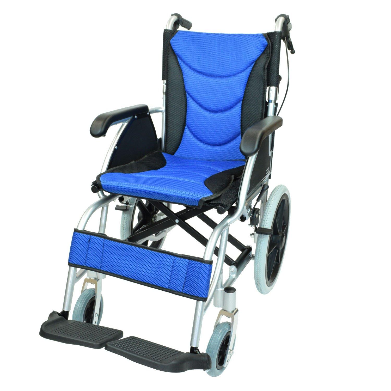 ケアテックジャパン 介助式 アルミ製 車椅子 CA-42SU ハピネスプレミアム -介助式- (ブルー) B01N9SBT8L ブルー ブルー