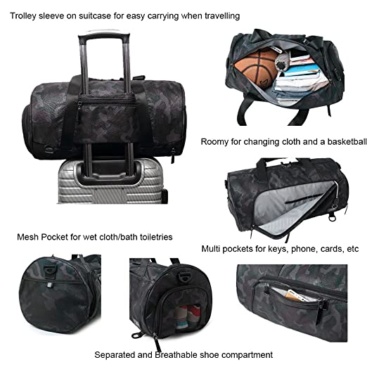 Gym Bag Holdall Sport Duffel with Shoe Compartment Travel Backpack for Men  and Women Overnight Travel Tote Bag (Black)  Amazon.co.uk  Sports   Outdoors 020f0563e81f3