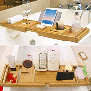 Bathtub Caddy Tray Bamboo Bathroom Organizer with Expandable Sides Holder for Book Glass Towel