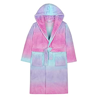 Amazon.com: 4Kidz Girls Sherbet Ombre Plush Fleece Dressing Gown ...