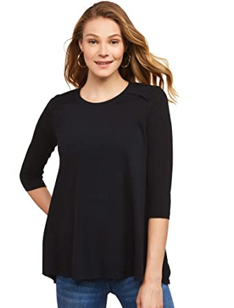 674547cacf5 Jessica Simpson Women's Maternity 3/4 Sleeve Scoop Neck Side Vent Nursing  Tunic at Amazon Women's Clothing store: