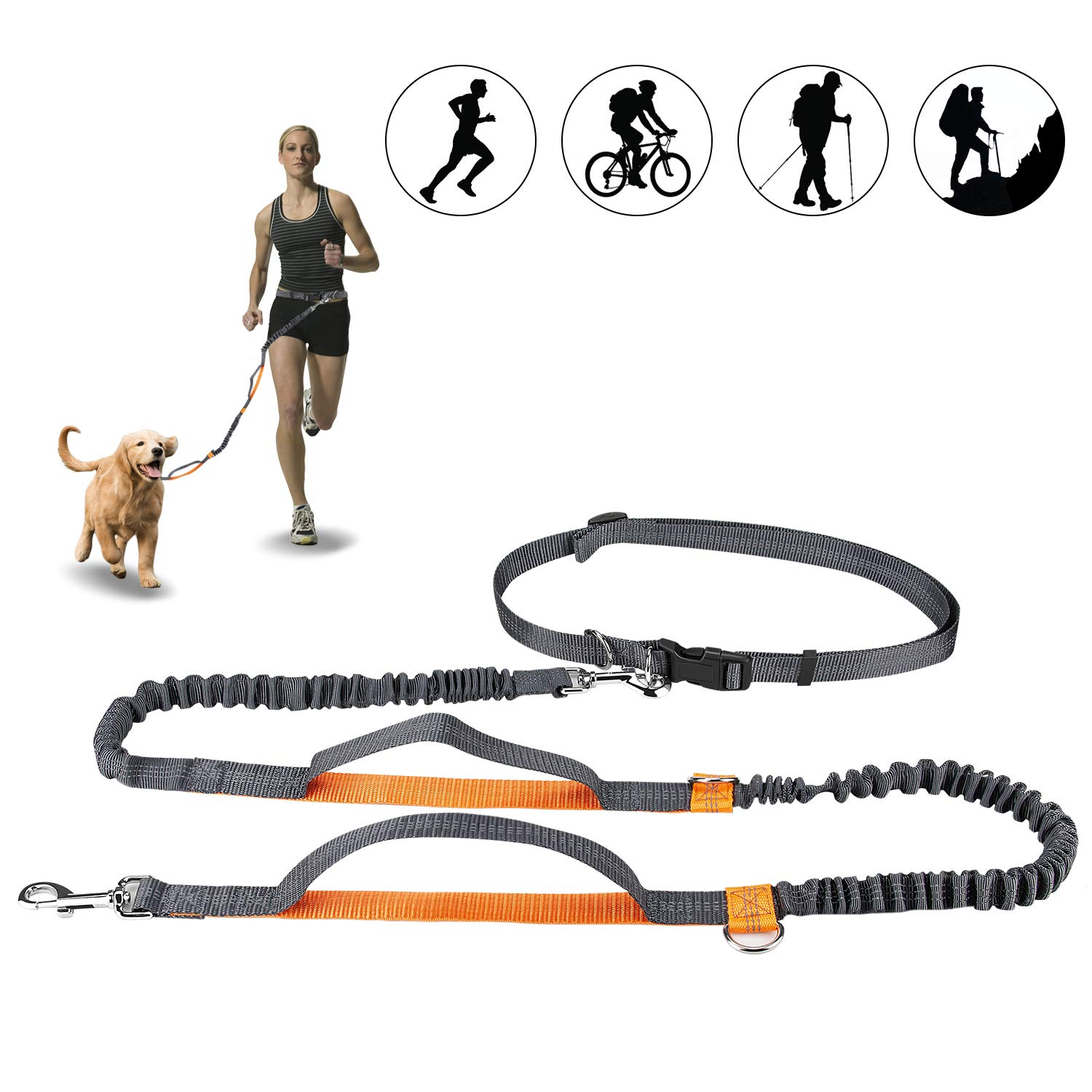 Winkeyes Hands Free Retractable Dog Leash 5ft-8ft with Dual Bungees for Puppy, Small & Medium Dogs 110Ibs, Adjustable Waist Belt 27''-47'', Reflective Stitching Leash for Running Walking Hiking