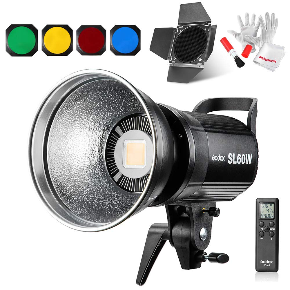 Godox SL-60W 60W CRI95+ Qa>90 5600±300K Bowens Mount Led Continuous Video Light with BD-04 Barn Door,Wirelessly Adjust Brightness, 433MHz Grouping System,for Video Recording,Wedding,Outdoor Shooting by Godox