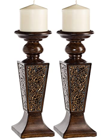 0d9a5fb644f58 Creative Scents Schonwerk Pillar Candle Holder Set of 2- Crackled Mosaic  Design- Functional Table