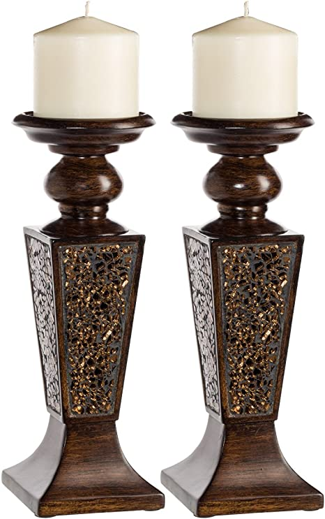 Creative Scents Schonwerk Pillar Candle Holder Set Of 2 Crackled Mosaic Design Functional Table Decorations Centerpieces For Dining Living Room Best Wedding Gift Walnut Amazon Ca Home Kitchen