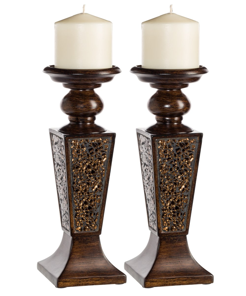 Creative Scents Schonwerk Pillar Candle Holder Set of 2- Crackled Mosaic Design- Functional Table Decorations- Centerpieces for Dining/Living Room- Best Wedding Gift (Walnut) by Creative Scents
