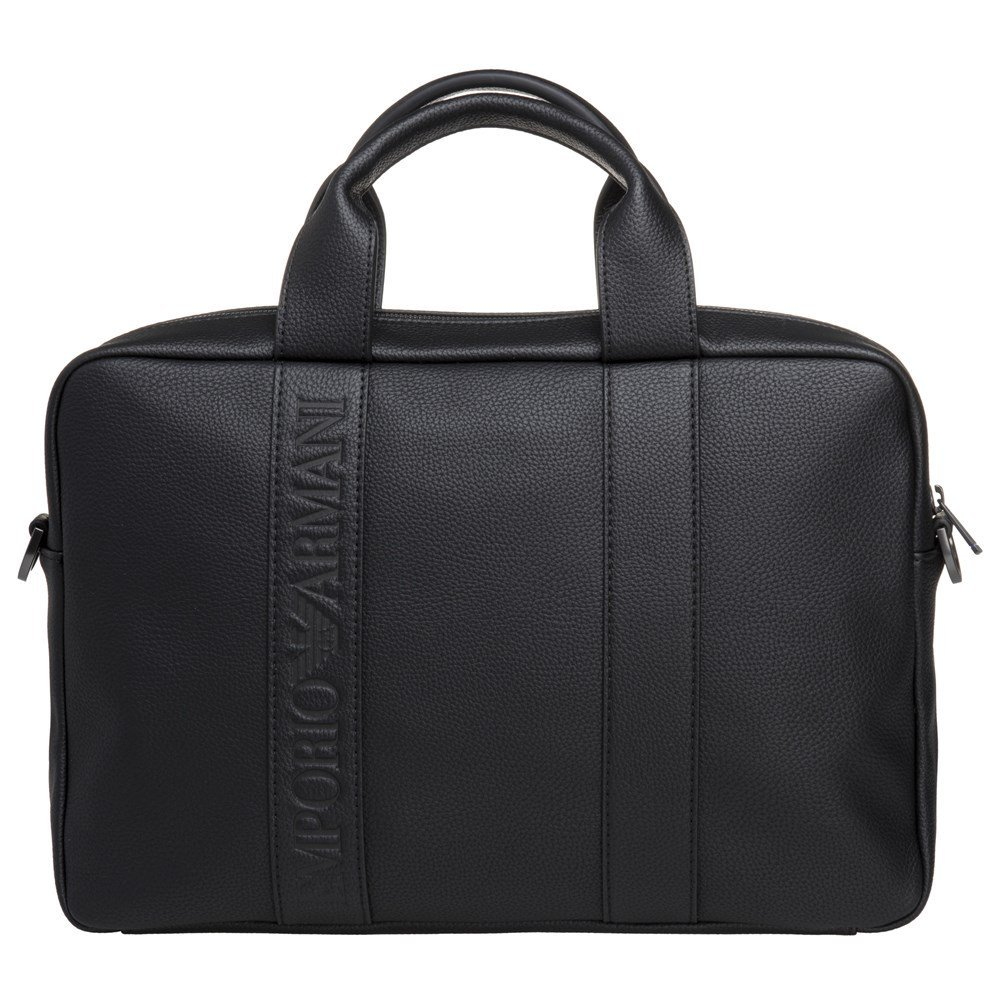 Emporio Armani Debossed Logo Mens Briefcase Black