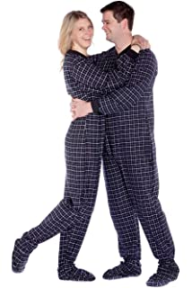 4900e8ad91 Grey   White Plaid Flannel Adult Footed Pajamas Drop Seat Footed ...