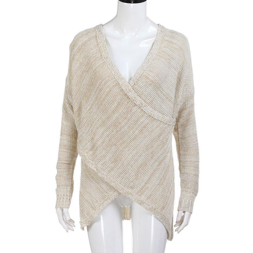 ... de Manga Larga Jerseys con Cuello de Pico y Manga Larga Suéter con Cuello en V Jerseys Suéter Tops Blusa Camisa QINGXIA_ZI: Amazon.es: Ropa y accesorios