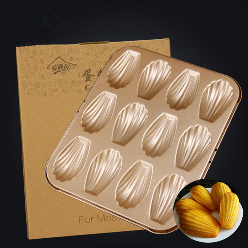 1PCS Non-stick Carbon Steel Madeleine Pan Kitchen Mold Shaped Shell Cake Baking Pan Bakeware,12-Cup Hoxekle
