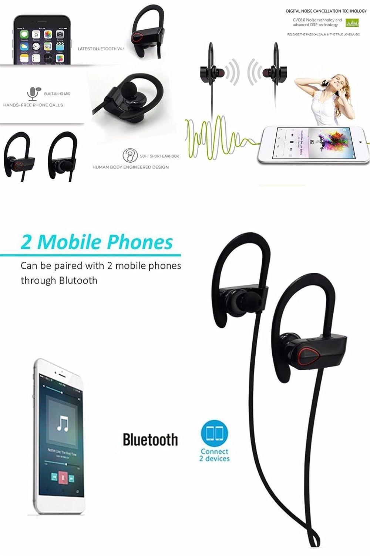 Joyeer Auricular inalámbrico Bluetooth prueba de sudor estéreo auriculares earbud gancho auricular de control de voz auriculares de llamada de respuesta con ...