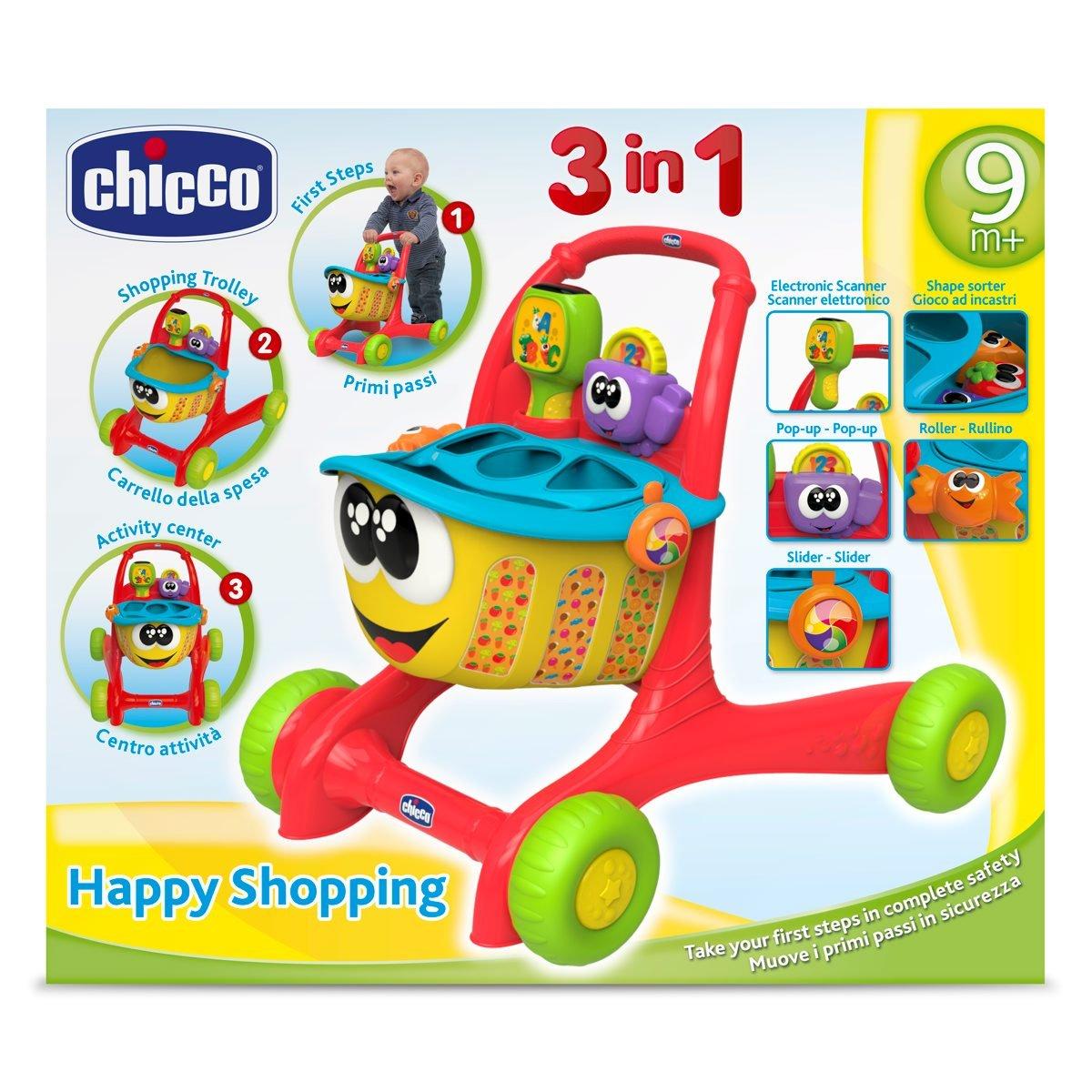 Chicco- Big & Small Andador, Centro de Actividades, encajable y Carrito de la Compra (00007655000040)