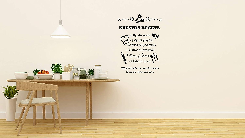 vinilo de pared cocina REGALOS ESTRELLA AZUL Vinilo de pared decorativos de cocinaNuestra receta Original frase decorativa de pared motivadora 80x60