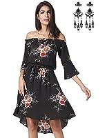 Modetrend Femmes Robe Bohême à Bandeau Rétro Imprimé Floral Été Robe de Plage en Vacances Sans Bretelles