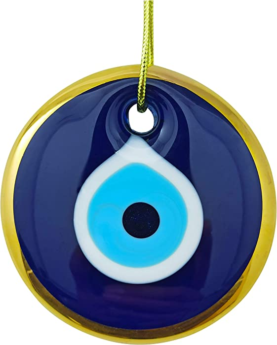 Erbulus Glass Blue Evil Eye Wall Hanging Gold Ornament – Turkish Nazar Bead - Home Protection Charm - Wall Decor Amulet in a Box