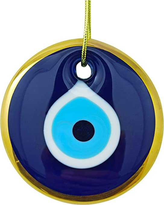 Blue Evil Eye with Crystal Beads Hanging Ornament for Protection Gift for Friend